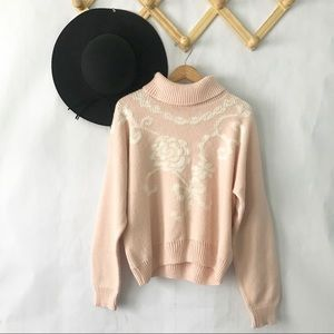 Vintage | Pink Fairy Kei Sweater with Bow Detail S